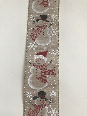 1 Metre Of Wired Christmas Snowman Ribbon For Wreath, Decorations Etc
