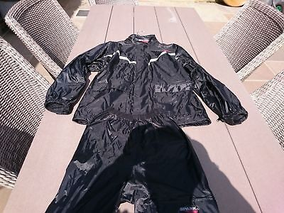 👍SPARK 2 PIECE MOTORCYCLE SCOOTER  WATERPROOF SUIT w/HOOD SMALL 👍