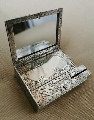Vintage Sterling Silver Compact Flapjack with Mirror and Lipstick Engraved