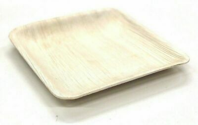 100 X Disposable Plates, Palm Leaf Natural Bamboo Square Plates, Party, Wedding