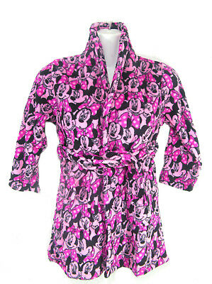 Girls Mini Mouse  Dressing Gown Colour Pink Size 5- 6 year With Front Pockets