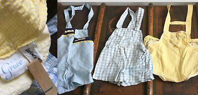 VTG 50s LOT 3 COTTON PLAYSUITS BABY CLOTHES LORD TAYLOR USA YELLOW BLUE SEERSUCK
