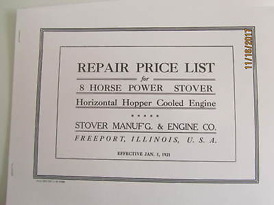 1921 8HP Stover Manufacturing & Gas Engine Co. Repair Parts List