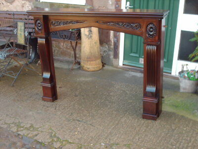 Large Solid Mahogany Carved Fireplace Surround