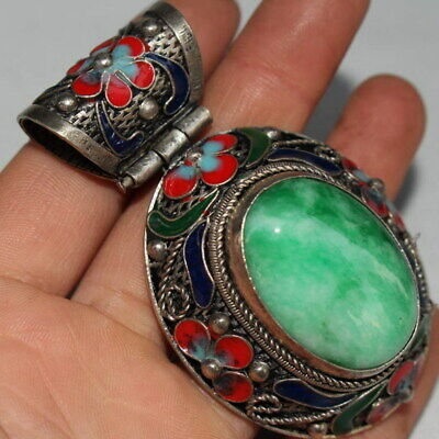 Handwork Wonderful Miao Silver Carve Red Flowers Inlay Turquoise Lucky Pendant