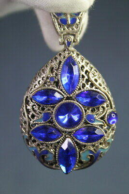 Handwork Exquisite Miao Silver Inlay Blue Beads Carved Flower Precious Pendant