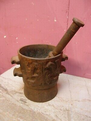 HEAVY ANTIQUE 1930's TRADITIONAL FRENCH BRETON CAST IRON PESTLE & MORTAR