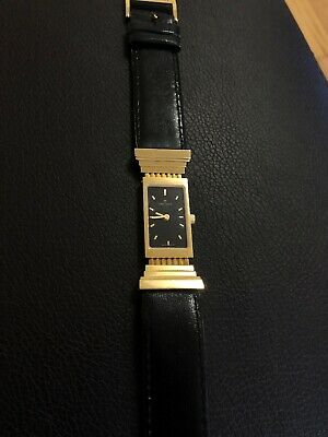 CLETO MUNARI OROLOGIO COLONNA GOLD PLATED BLACK LEATHER STRAP Watch