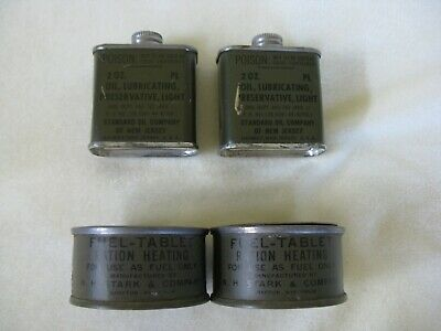 2 Cans WW2 Gun Oil, 2 oz cans Standard Oil & 2 Cans Fuel-Tablet Ration Heating