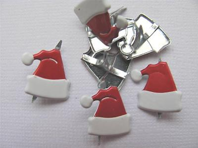 BRADS SANTA HATS pk of 8 christmas hat xmas card scrapbooking craft split pin