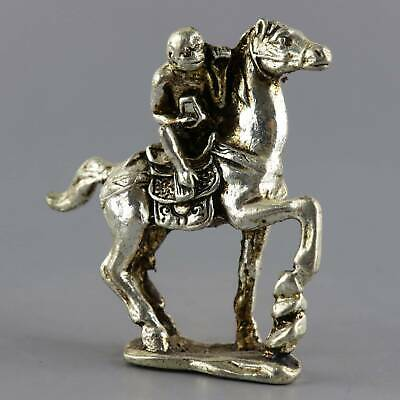 Collectable Old Tibet Silver Hand-Carved Monkey & Horse Moral Auspicious Statue
