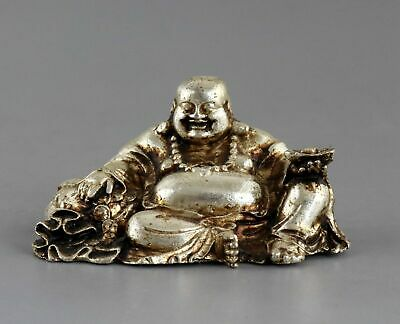 Collect China Old Tibet Silver Carve Smile Buddha Hand Hold Wealth Lucky Statue