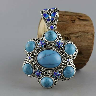 Collect Old Miao Silver Cloisonne Inlay Turquoise Carved Delicate Decor Pendant