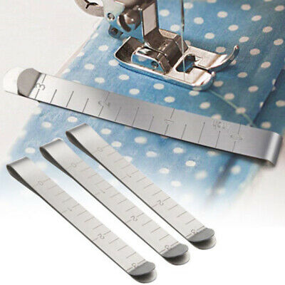6 Acero Inoxidable Acolchado Hemming Broches Medición Regla Costura Set Usar