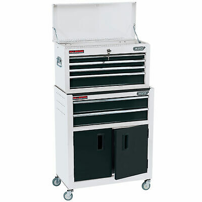 """Draper 24"""" Combined Roller Cabinet and Tool Chest (6 Drawer) in White"""