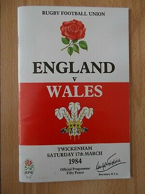 Vintage 1984 Rugby Union England v Wales at Twickenham Programme & Ticket