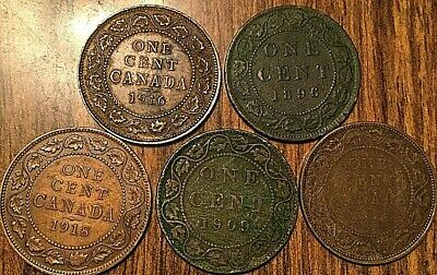 1896 1909 1916 1916 1918 Canada Large Cent Penny Lot Of 5 Coins