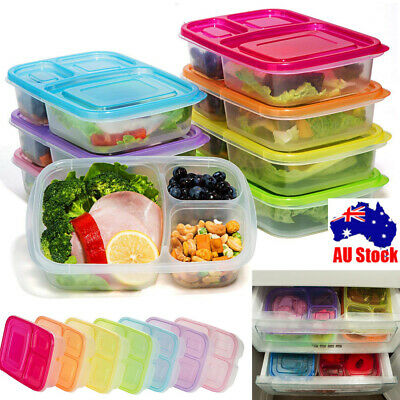 Meal Prep Containers 3 Compartment Lunch Boxes Food Storage with Lids Set YL