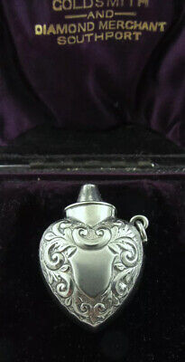 RARE Antique Novelty Silver Smelling Salts Inhaler Heart Chatelaine