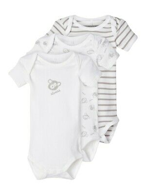 NAME IT 3er kurzarm Baby Body Set grau weiß Teddy Größe 50 bis 98