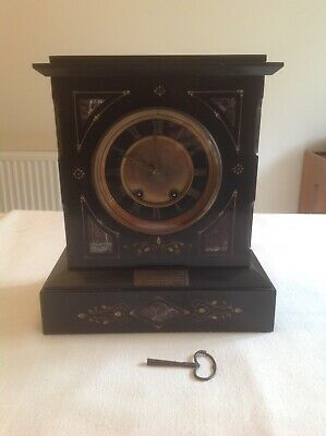 Victorian Slate and Marble Mantel Clock - 1800s