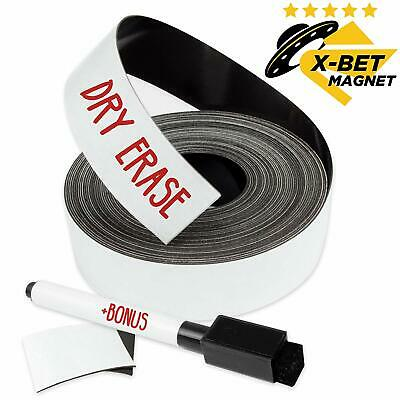 Dry Erase Magnetic Strips - 1 Inch x 25 Feet Magnetic Tape Roll - Blank Write On