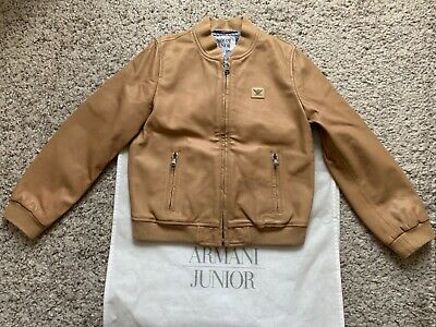 ARMANI JUNIOR BOYS REAL LEATHER JACKET SIZE 8A Excellent condition. RRP:£290.00