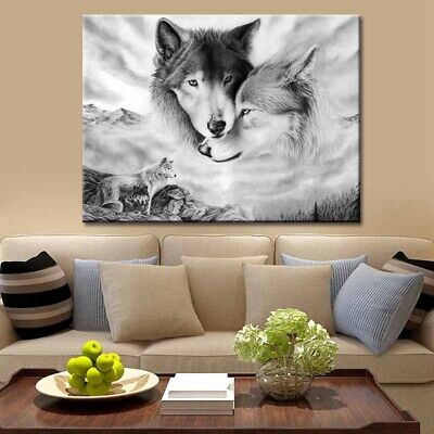 Wolf Black&Nature Canvas Home Hanging Picture Wall Art Painting Decor Seja