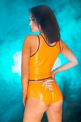 Latex Rubber Shorts in Orange Rear Lace up Sample Item New Fetish XS Gummi