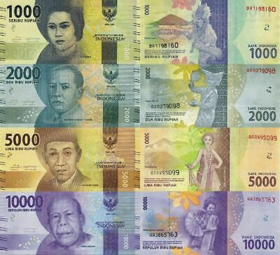 Indonesia Set 4 Pcs 1000 2000 5000 10000 Rupiah 2016 P New Design Unc