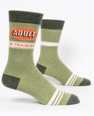 Blue Q Men's Crew Socks ADULT IN TRAINING - NEW WITH TAG - fits size 7 to 12