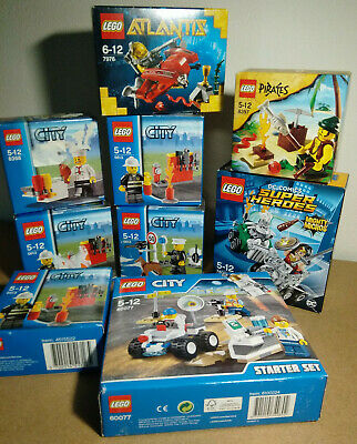 Lot de 9 boites Lego City, DC Super Heroes, Atlantis, Pirates,  sets scellées