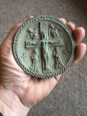 BEAUTIFUL ANCIENT ROMAN BRONZE PLAQUE-Depicting Christianity CIRCA 200-300AD ?