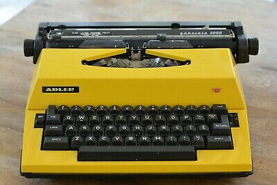 Retro 1970's Adler Portable Electric Typewriter - YELLOW