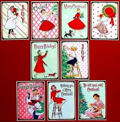 1950'S Christmas Card Toppers X 9 Retro Try Something Different- Make Easy Cards