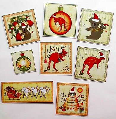 Australiana Down Under Christmas Themed Fun Card Toppers X 8 Send Overseas