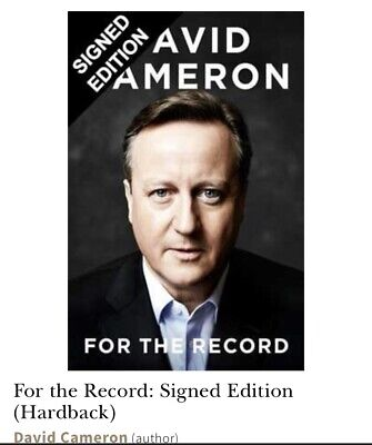 Signed Hardback David Cameron For The Record NEW
