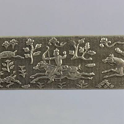 Collect Old Tibet Silver Carve Ancient Hunting Scene Precious Paperweight Statue