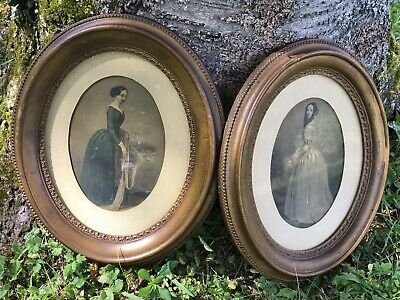 """Antique Gold Gilt Oval Wood Picture Frames W/ Victorian Dressed Ladies 13.5"""""""