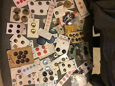 Vintage button lot assortment new on cards sewing crafts lot cards