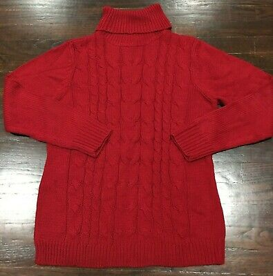 NWT York & Company Womens XL Red Turtle Neck Sweater Cable Knit Comfortable Soft
