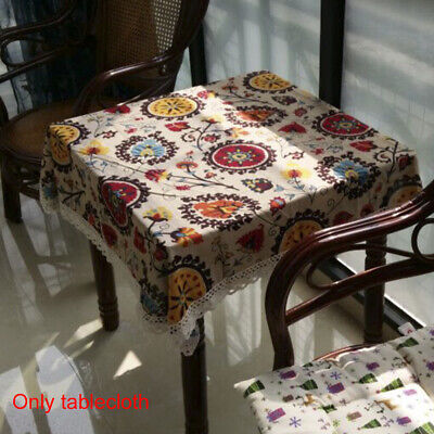 Retro Blue and White Table Cloth with Lace Cotton /& Linen Print Chinese Sty R1L8