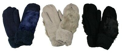 Women's Mittens Gloves with Faux Fur Warm Winter Fall Cute Knitted