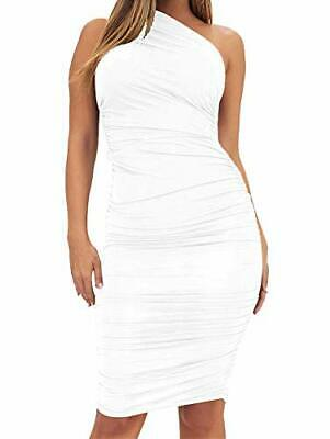 TOB Women's Sexy Bodycon Ruched One Shoulder Sleeveless Club, White, Size Large