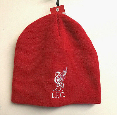 Official Liverpool Football Club Product Roll Down Knitted Beanie Hat Bright Red