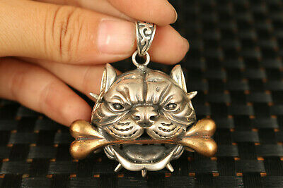 rare 925 silver hungry dog figure statue pendant netsuke necklace
