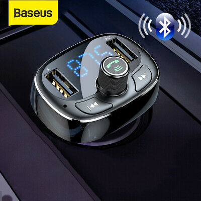 Baseus 2 USB Car Charger Wireless Bluetooth FM Transmitter Handsfree MP3 Player