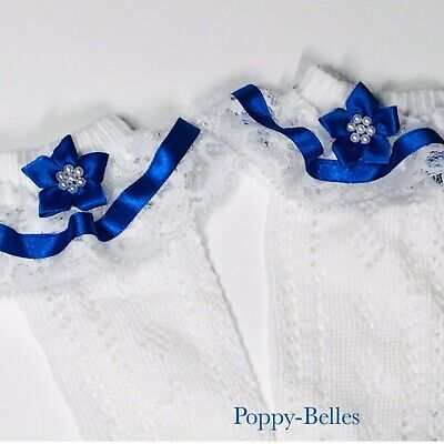 Handmade Royal blue beaded flower girls knee high/length frilly socks
