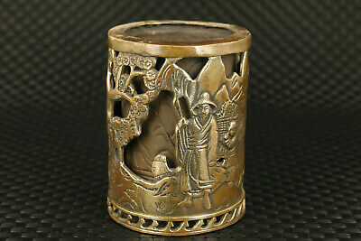 chinese old bronze hand carved sage statue brush pot