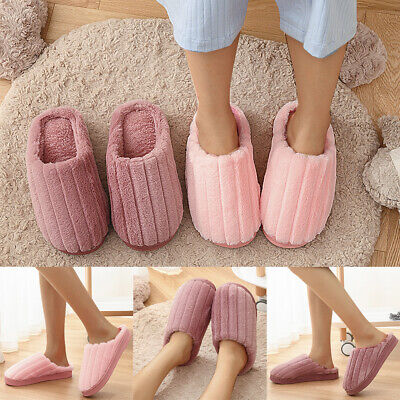 Womens Winter Warm Fur Lined Slippers Mules Slip On Lady Casual Sliders Size 3-7